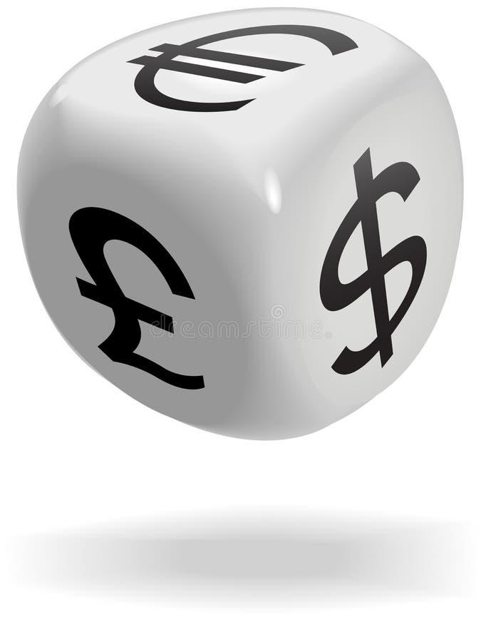 O cubo dos dados rola símbolos de moeda do jogo do dinheiro ilustração stock
