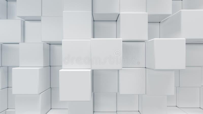 O cubo geométrico branco, cúbico, caixas, esquadra o fundo abstrato do formulário Blocos abstratos do branco Fundo do molde para imagem de stock royalty free