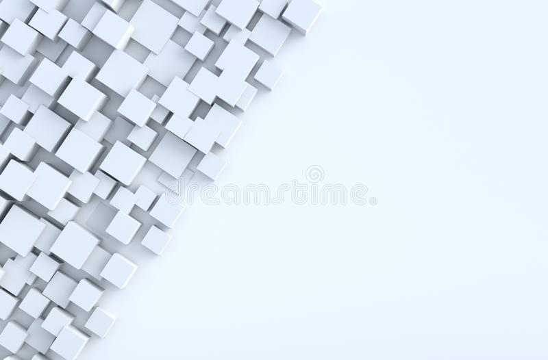 O cubo geométrico branco dá forma ao fundo foto de stock