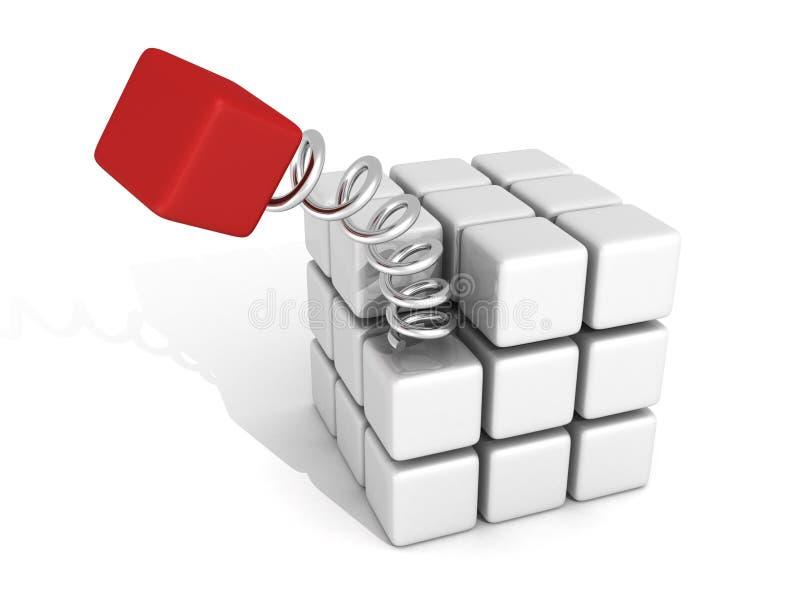 O cubo vermelho diferente salta na espiral da mola ilustração stock