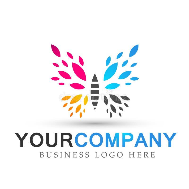 O cuidado colorido do estilo de vida dos termas da beleza da borboleta relaxa o ícone do logotipo das asas do sumário da ioga no  ilustração royalty free