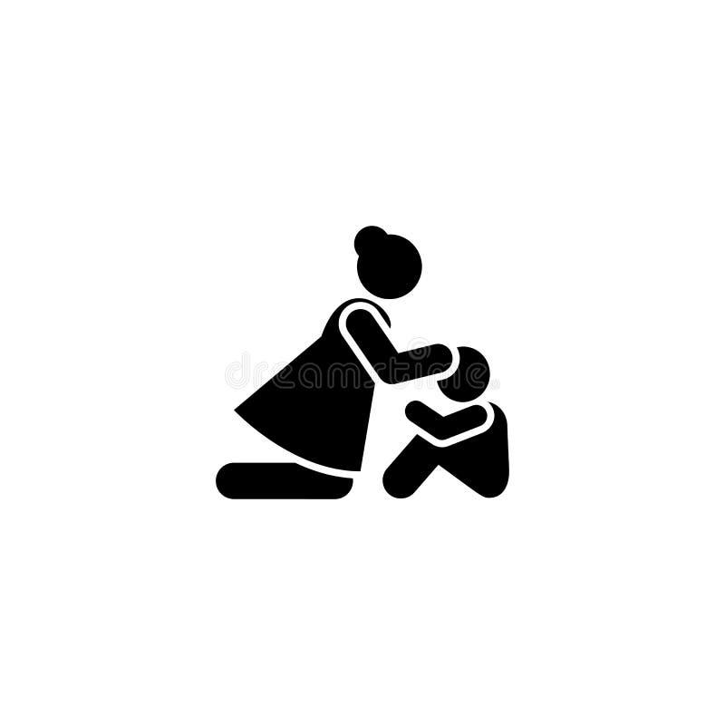O cuidado do abraço da criança da mulher chora o ícone Elemento da ilustração da morte do pictograma ilustração stock