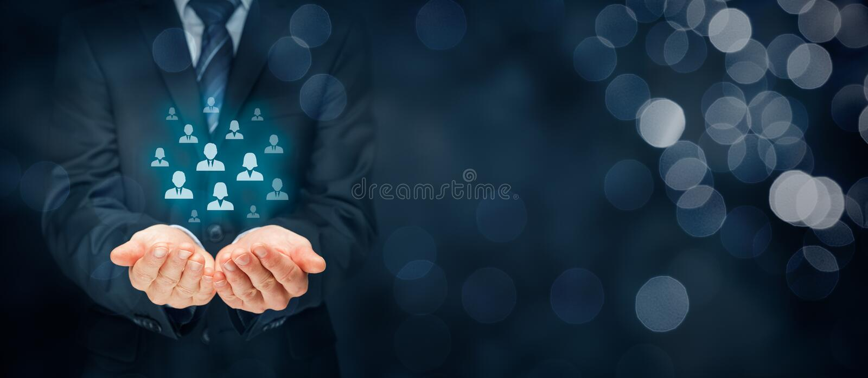 O cuidado do cliente e controla recursos humanos imagem de stock