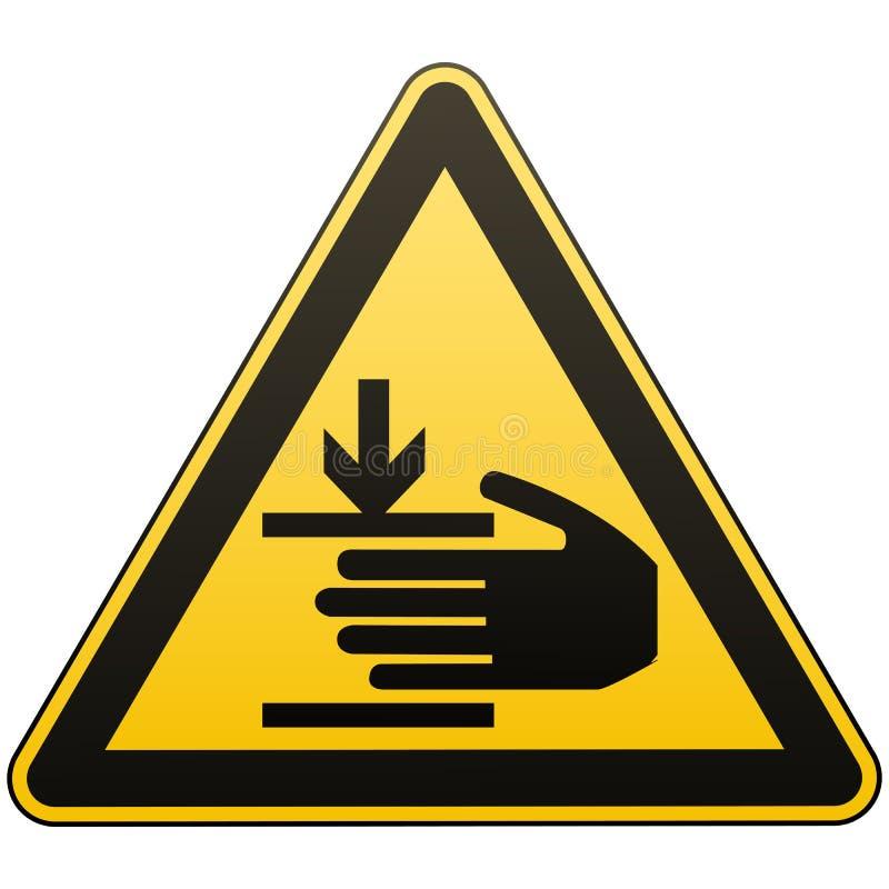 O cuidado, mãos pode ser ferido A atenção é perigosa Sinal de aviso Medidas de segurança Triângulo amarelo com um preto ilustração stock