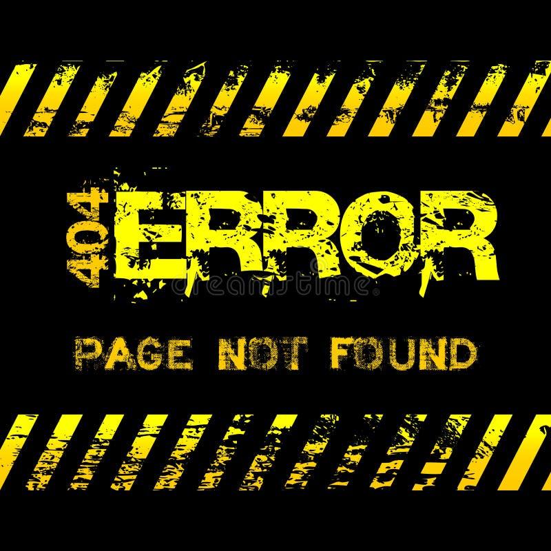 O cuidado não encontrado do amarelo do estilo do grunge da página - erro - grava a ilustração ilustração royalty free