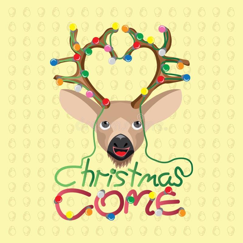 O cumprimento da estação do Natal vem ilustração stock