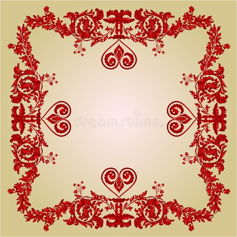 O cumprimento do quadro do coração dos Valentim ornaments o vetor do vintage ilustração do vetor