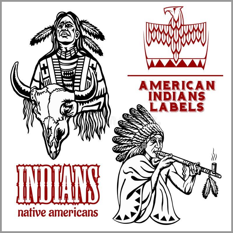 O curandeiro indiano no traje étnico fuma uma tubulação Homem do nativo americano Elemento tirado mão do projeto do ornamento do  ilustração stock