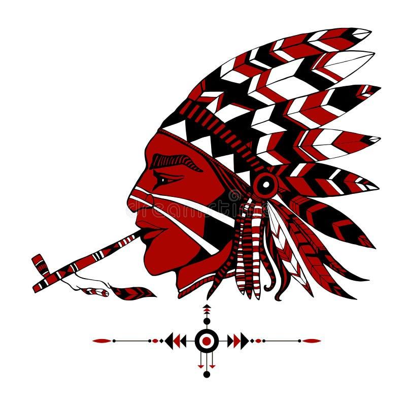 o curandeiro indiano Vermelho-descascado no traje étnico fuma uma tubulação do peac ilustração stock
