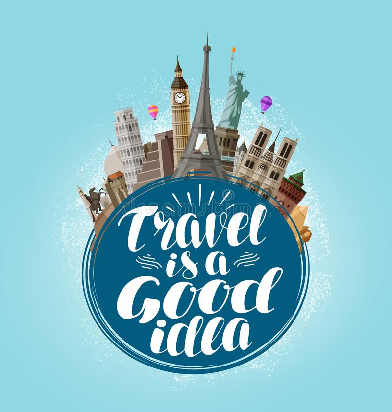 O curso é uma boa ideia, rotulando Viagem, excursão, conceito de viagem Ilustração do vetor ilustração do vetor