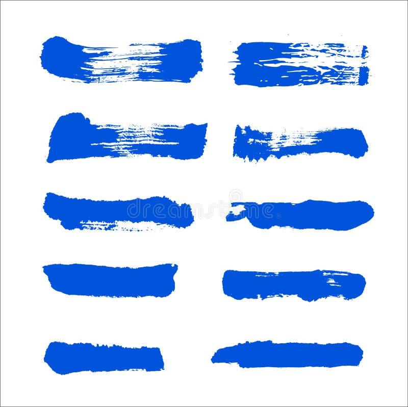 O curso da escova de pintura da tinta azul do vetor da cole??o ajustou cursos decorativos tirados m?o da escova do grunge a cole? ilustração stock
