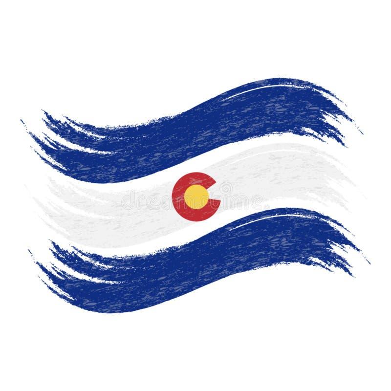 O curso da escova do Grunge com a bandeira nacional de Colorado isolou-se em um fundo branco Ilustração do vetor ilustração stock