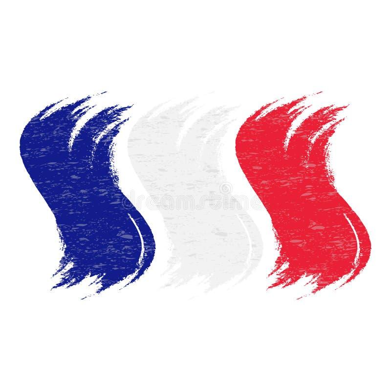 O curso da escova do Grunge com a bandeira nacional de França isolou-se em um fundo branco Ilustração do vetor ilustração stock