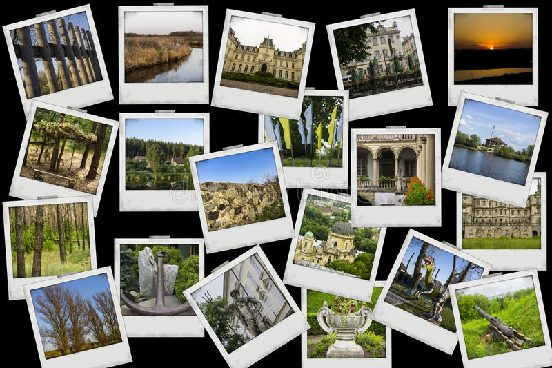 O curso da mistura da colagem do mosaico com imagens de lugares, de paisagens e de objetos diferentes disparou por mim mesmo no p foto de stock