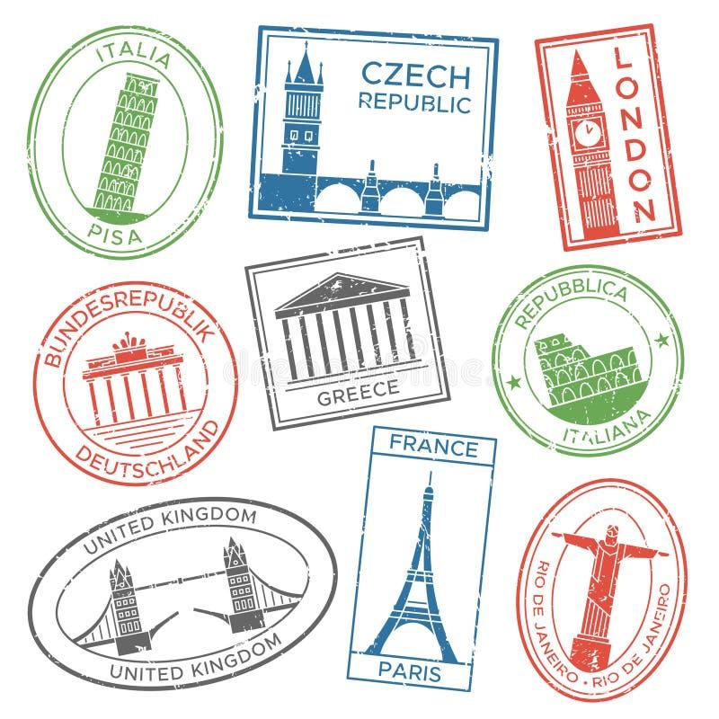 O curso do vintage carimba para cartão com atrações da arquitetura dos países de Europa Etiquetas do selo do cargo para cursos ilustração royalty free