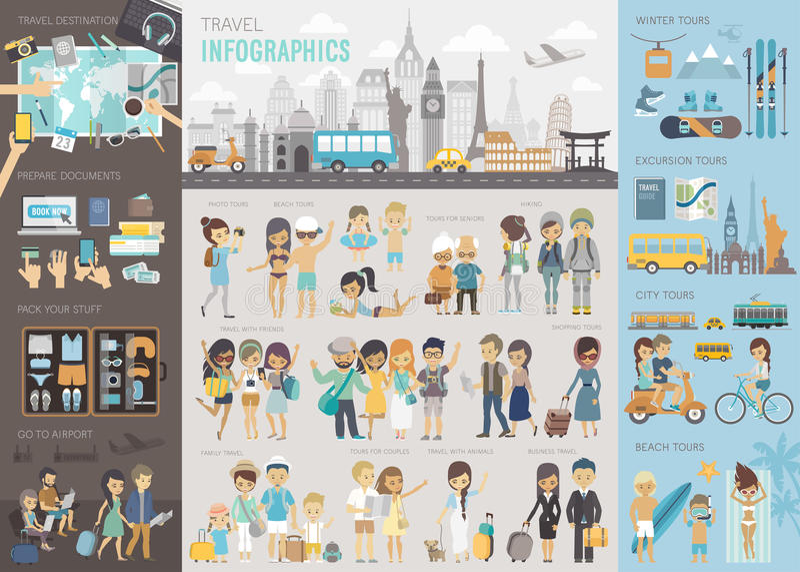 O curso Infographic ajustou-se com cartas e outros elementos ilustração stock