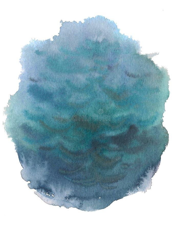 O curso tirado da tinta da aquarela da água do mar mão azul isolou o ponto de papel da textura da grão no fundo branco para o pro imagens de stock royalty free