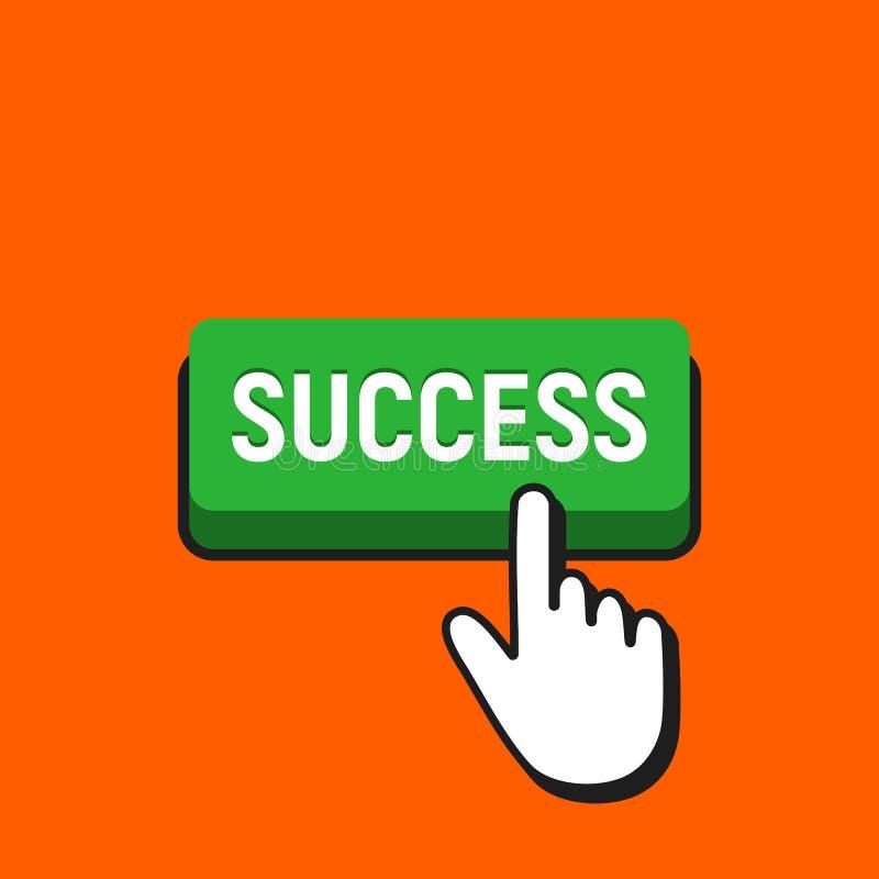 O cursor do rato da mão clica o botão do sucesso ilustração do vetor