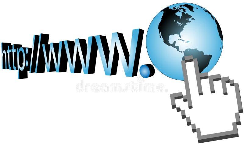 O cursor estala sobre o URL do World Wide Web 3D ilustração royalty free