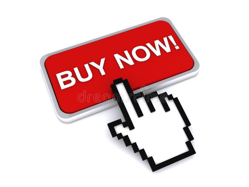 O cursor que pressiona a compra abotoa-se agora ilustração do vetor