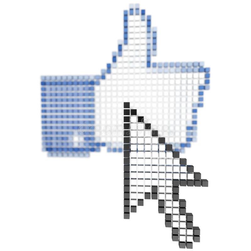 O cursor sobre um ícone manuseia acima do isolado ilustração do vetor