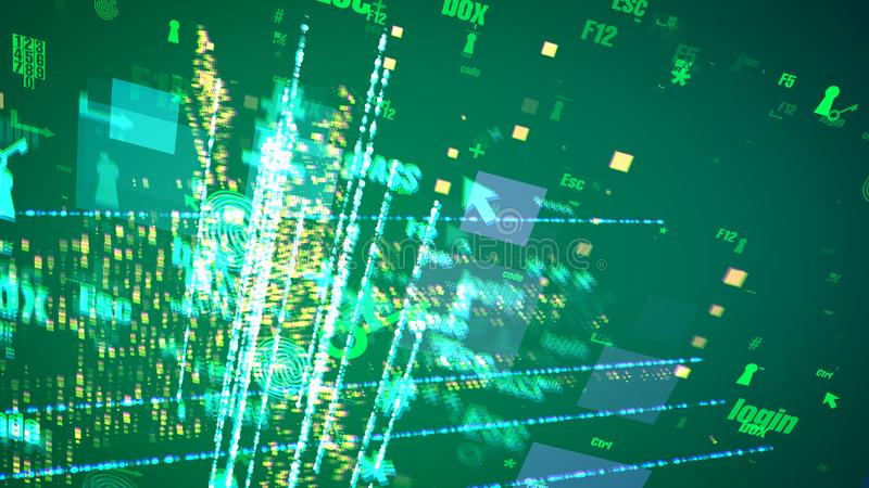 O Cyber abstrato assina dentro Olive Space ilustração do vetor