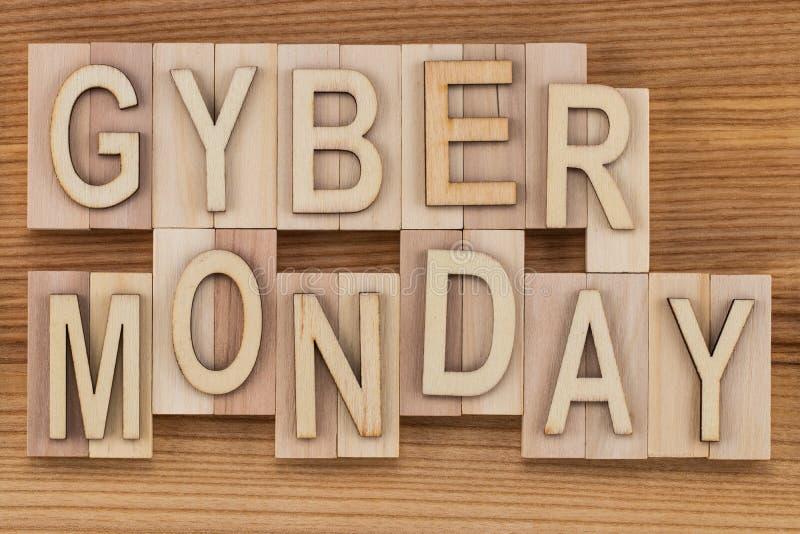 O Cyber segunda-feira - conceito em linha da compra e do mercado - texto, corteja fotografia de stock royalty free