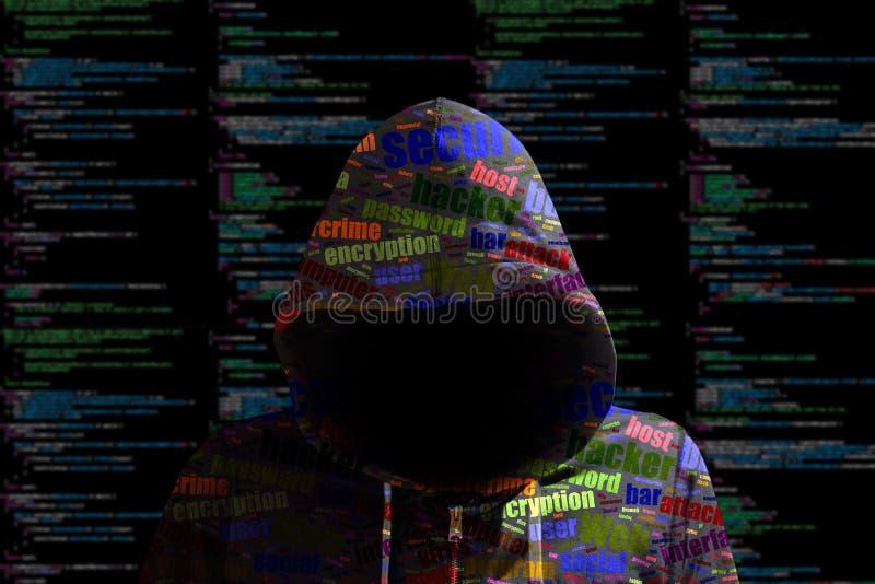 O cybersecurity do hacker de Hoody coloriu o segundo da informação do código de computador ilustração stock