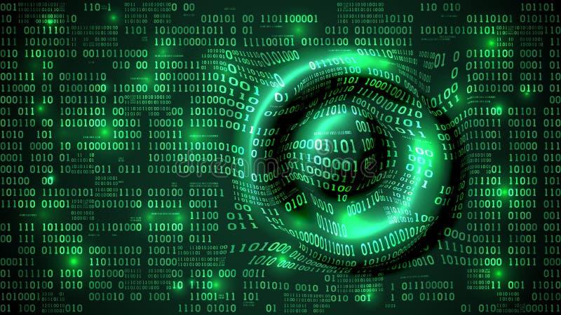 O Cyberspace futurista abstrato com código binário e circular acena na superfície, fundo com dígitos, rede neural da matriz ilustração do vetor