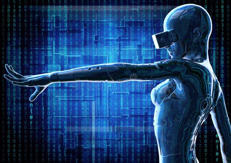 O cyborg chromeplated à moda a mulher ilustração 3D