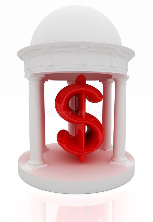 O dólar assina dentro a rotunda ilustração do vetor