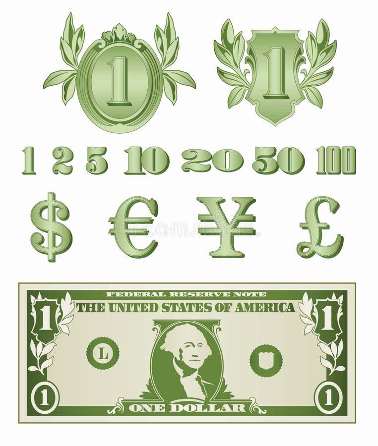 O dólar detalha o vetor ilustração do vetor