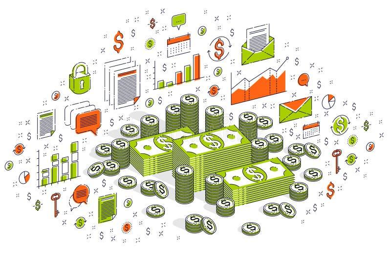 O dólar do dinheiro do dinheiro empilha e inventa as pilhas dos centavos isoladas no branco ilustração do vetor