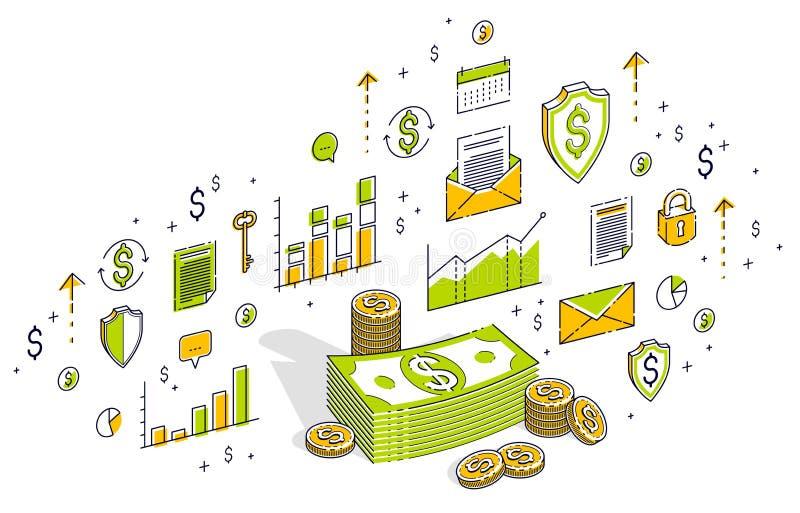 O dólar do dinheiro do dinheiro empilha e inventa as pilhas dos centavos isoladas no branco ilustração stock