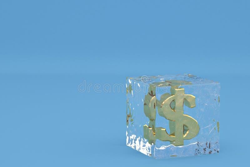 O dólar do ouro assina dentro cubos de gelo no fundo azul inclui o trajeto 3d ilustração stock