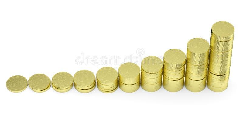O dólar dourado crescente inventa a carta de barra ilustração royalty free