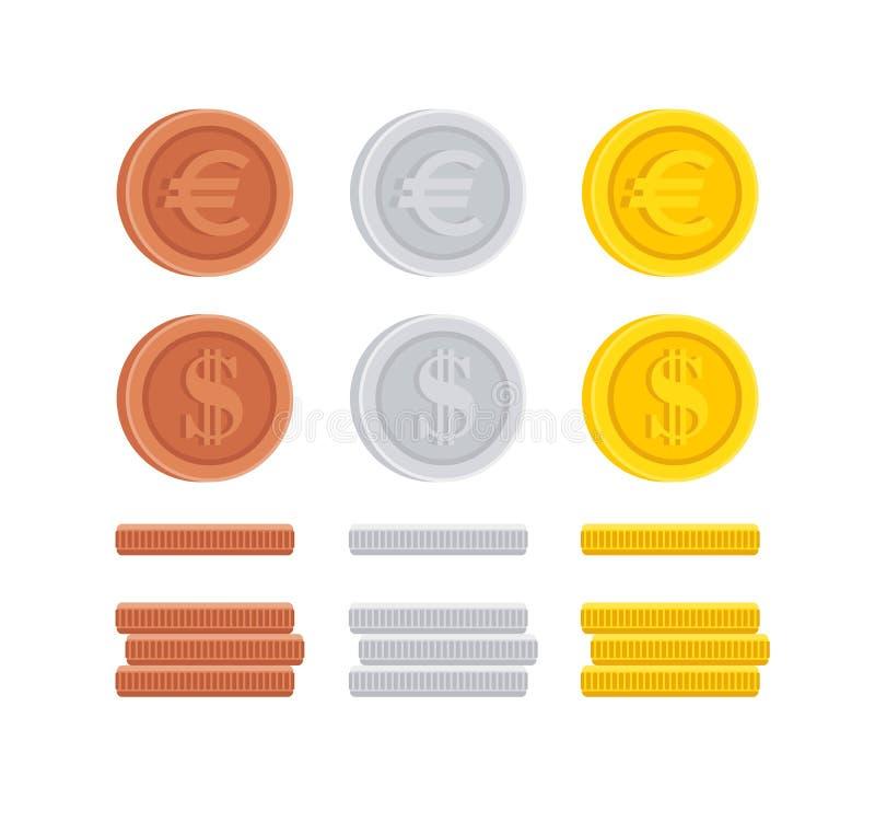 O dólar e o Euro inventam a coleção do ícone do sinal do centavo ilustração stock