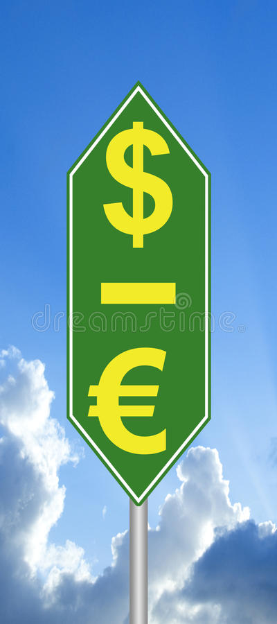 O dólar está acima, o Euro assina para baixo imagens de stock