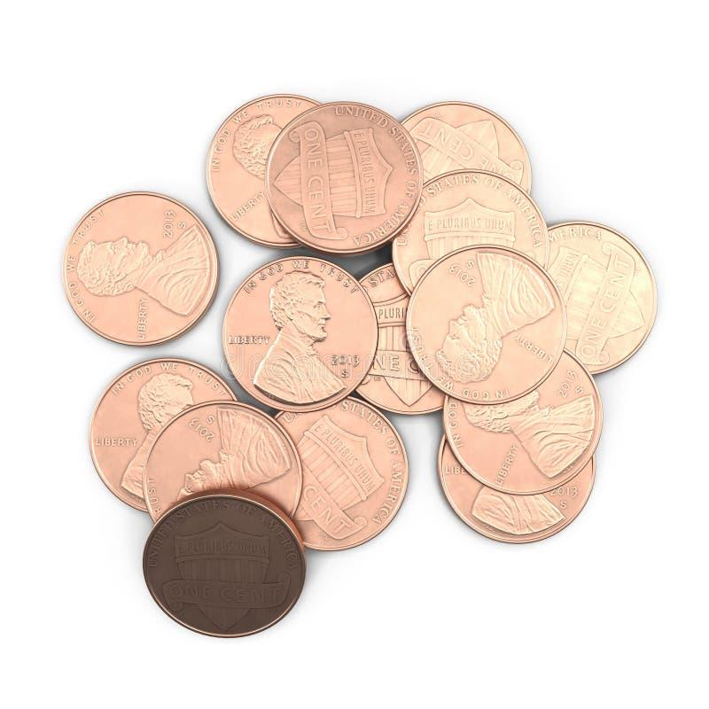 O dólar inventa 1 moeda do centavo do Estados Unidos isolado sobre o branco 3D ilustração, trajeto de grampeamento ilustração royalty free