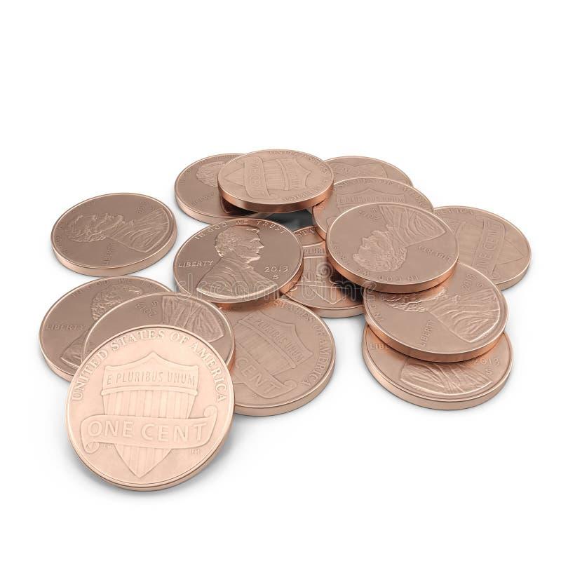 O dólar inventa 1 moeda do centavo do Estados Unidos isolado sobre o branco 3D ilustração, trajeto de grampeamento ilustração stock
