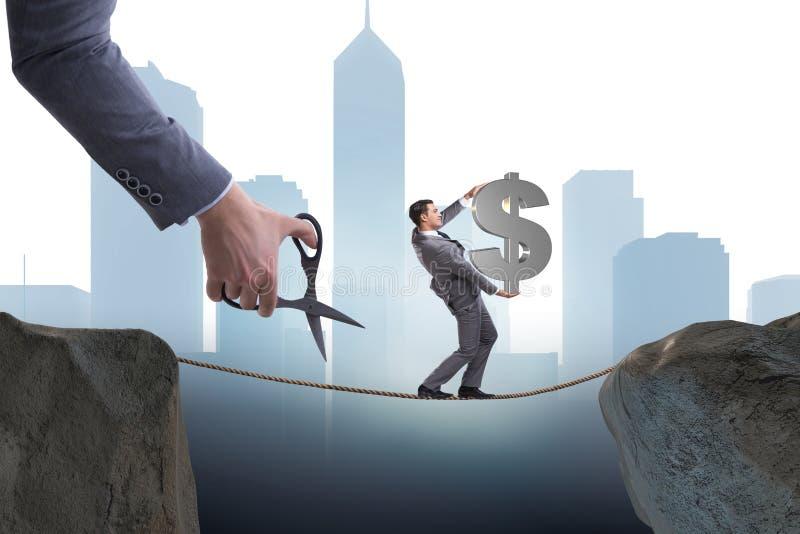 O dólar levando do homem no tightrop ilustração royalty free