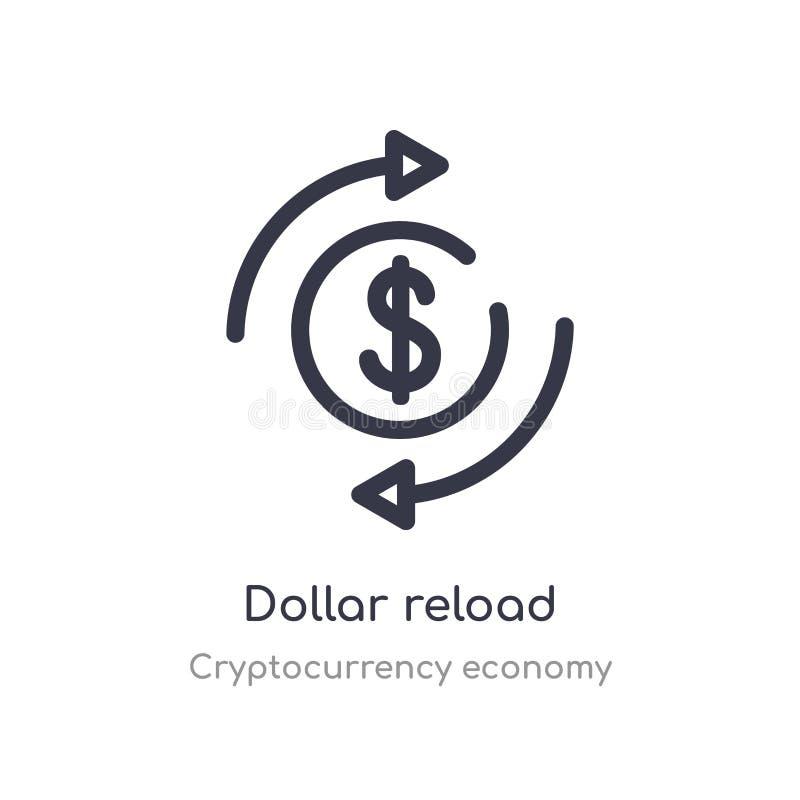 o dólar recarrega o ícone do esboço linha isolada ilustra??o do vetor da cole??o da economia do cryptocurrency dólar fino editáve ilustração royalty free