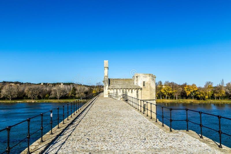 O d'Avignon de Pont, é uma ponte medieval famosa imagens de stock royalty free