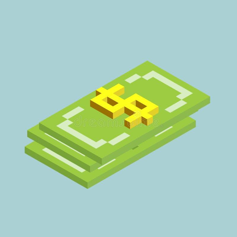 O d?lar, fanfarr?es assina cubos forma, ?cone isom?trico da moeda dos E.U., ilustra??o do vetor ilustração stock