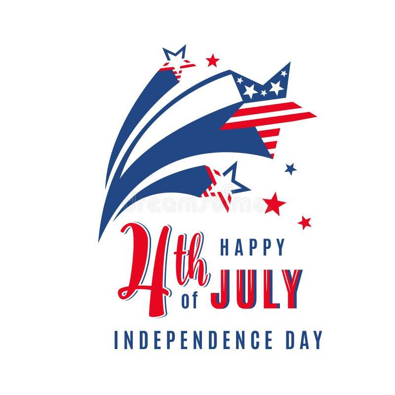 4o da bandeira do feriado da celebração de julho com estrelas de tiro Cartaz do Dia da Independência dos EUA para cumprimentar, c ilustração do vetor