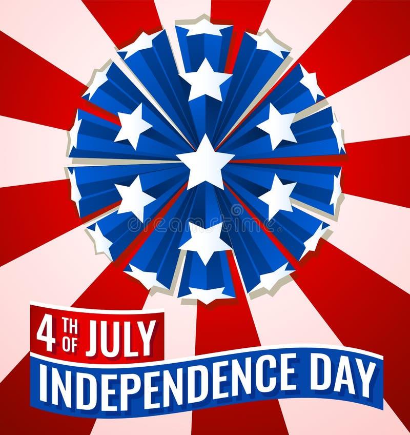 4o da ilustração da bandeira da bandeira do Dia da Independência de julho EUA ilustração royalty free