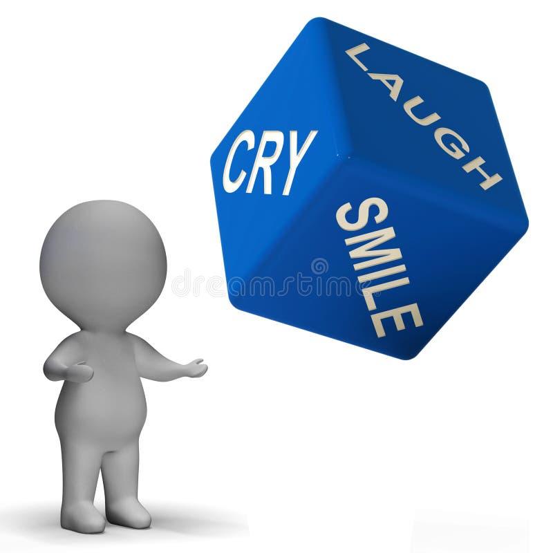 O dado do sorriso do grito do riso representa emoções diferentes ilustração stock
