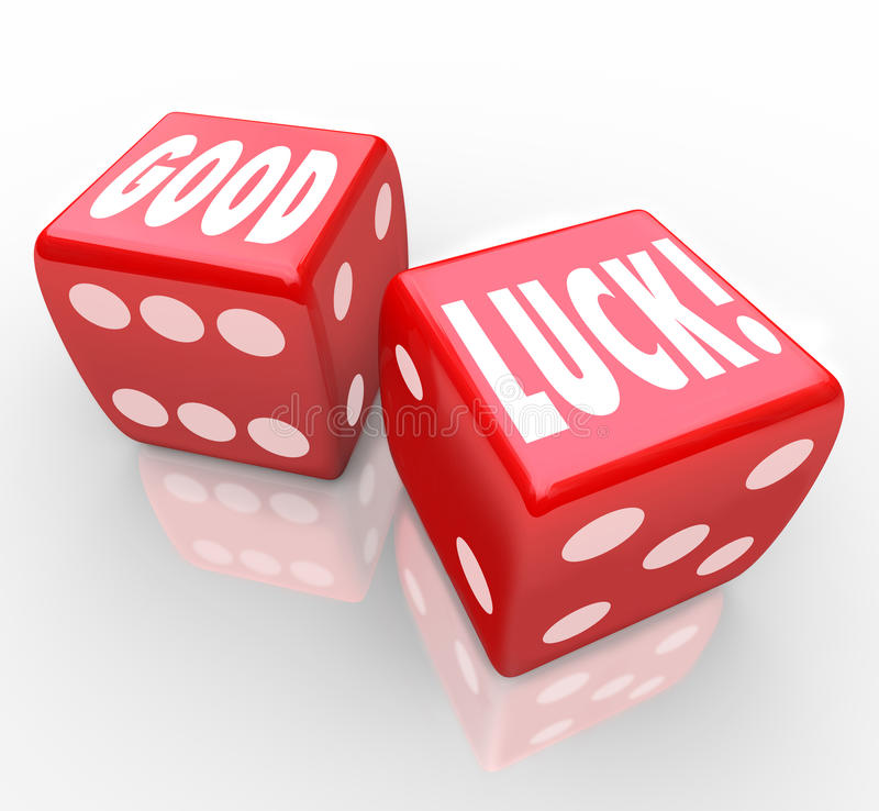 O dado vermelho da boa sorte exprime a fortuna favorável ilustração stock