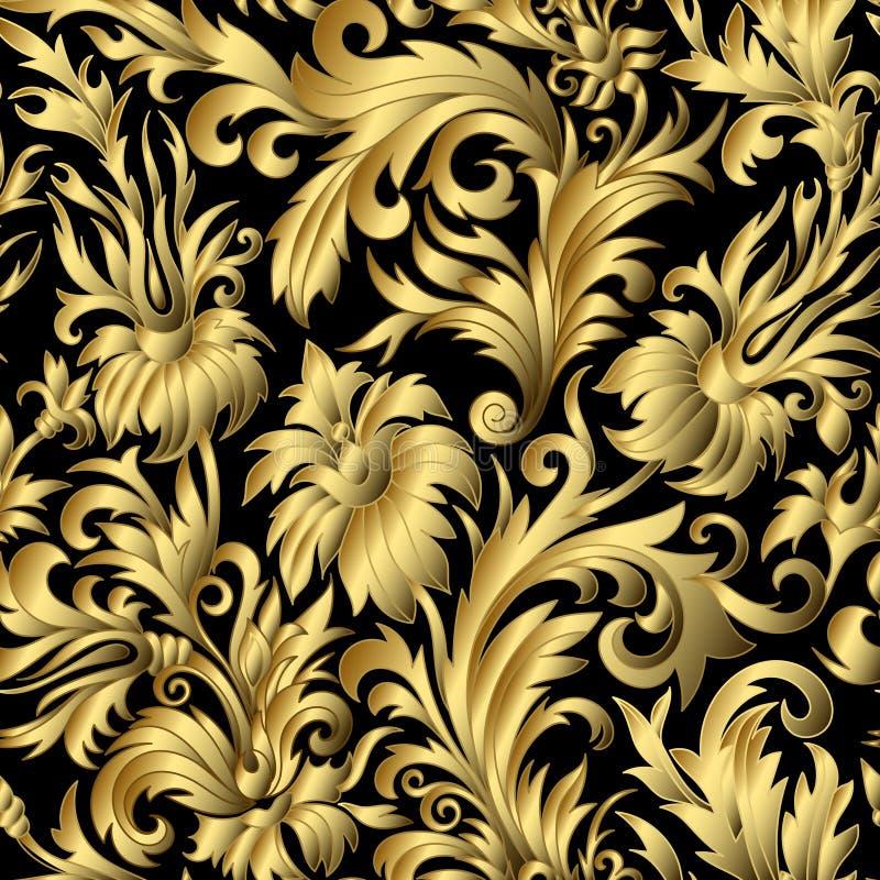 O damasco do ouro ornaments sem emenda ilustração do vetor