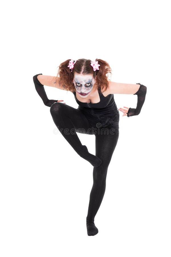 O dançarino de bailado assustador está levantando fotos de stock royalty free